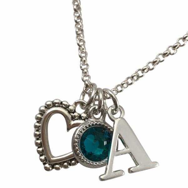 Initial and Birthstone Charm Necklace