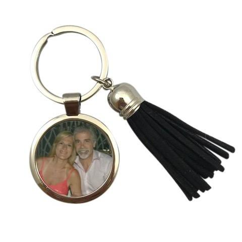 Photo Keychain with Black Tassle