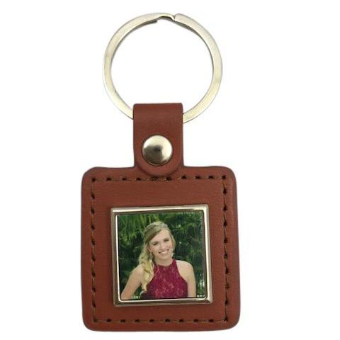 Brown Photo Square Keychain
