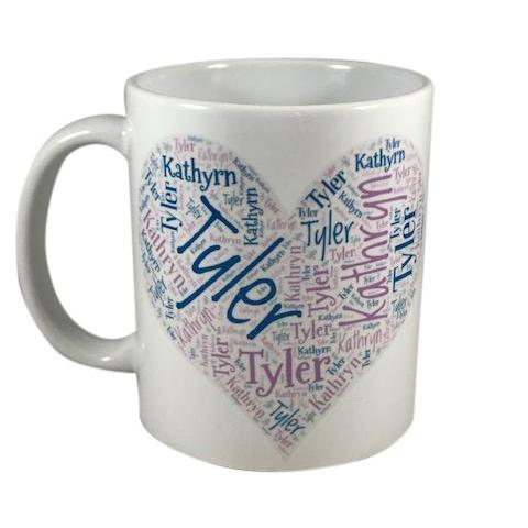 Personalized Heart Name Art Mug