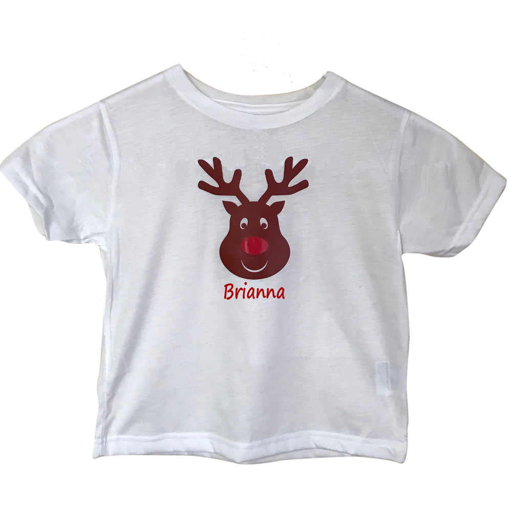 Personalized Toddler Red Nose Reindeer T-Shirt
