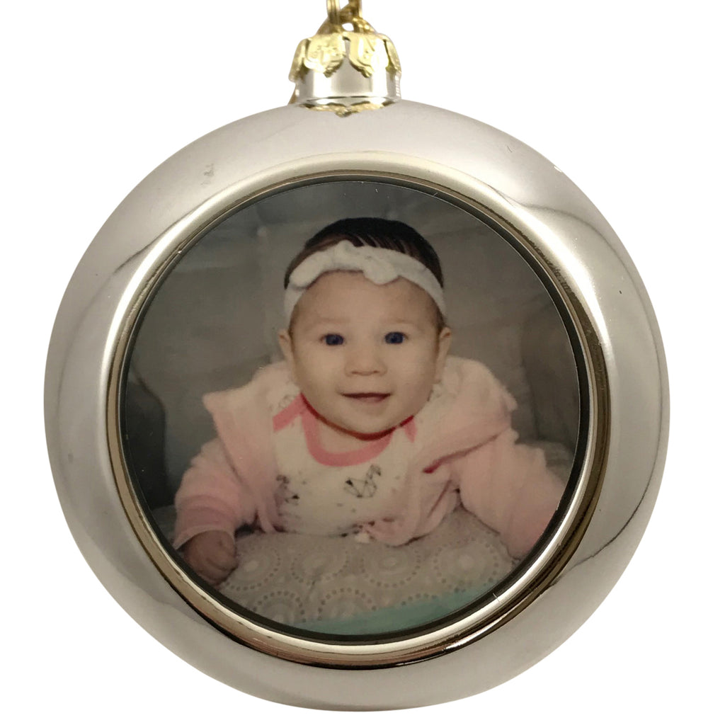 Silver Christmas Ornament with Photo