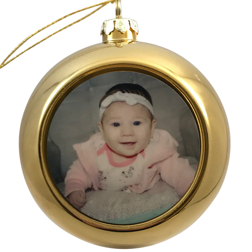 Gold Christmas Ornament with Photo