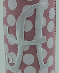 Baby Bottle Pink Polka Dot Koozie With Initial
