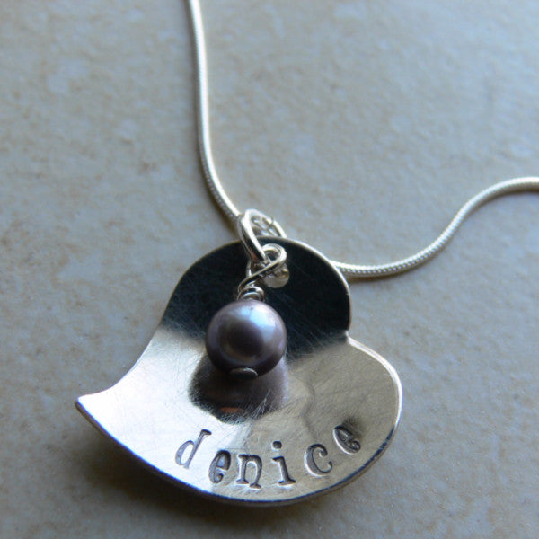 Domed Heart with Pearl Pendant