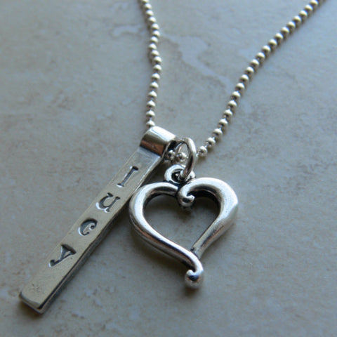 Bar and Heart Pendant