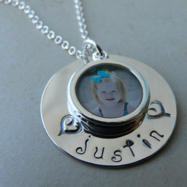 Stamped Circle with Photo Charm Pendant