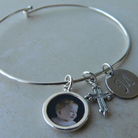 Bangle Bracelet with Photo Charm, Cross and Stamped Initial