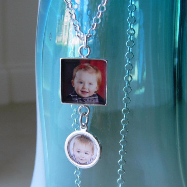 Square and Circle Photo Charm Pendant