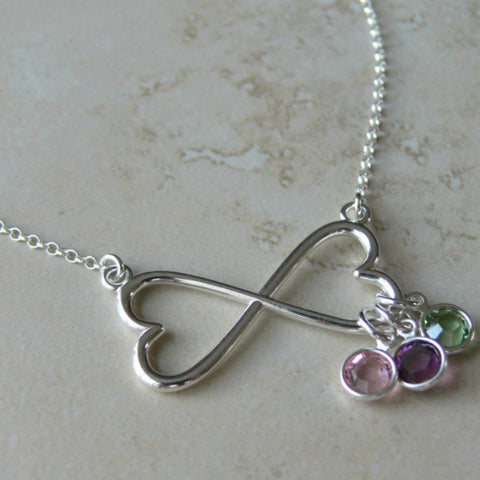 Infinity Birthstone Charm Necklace