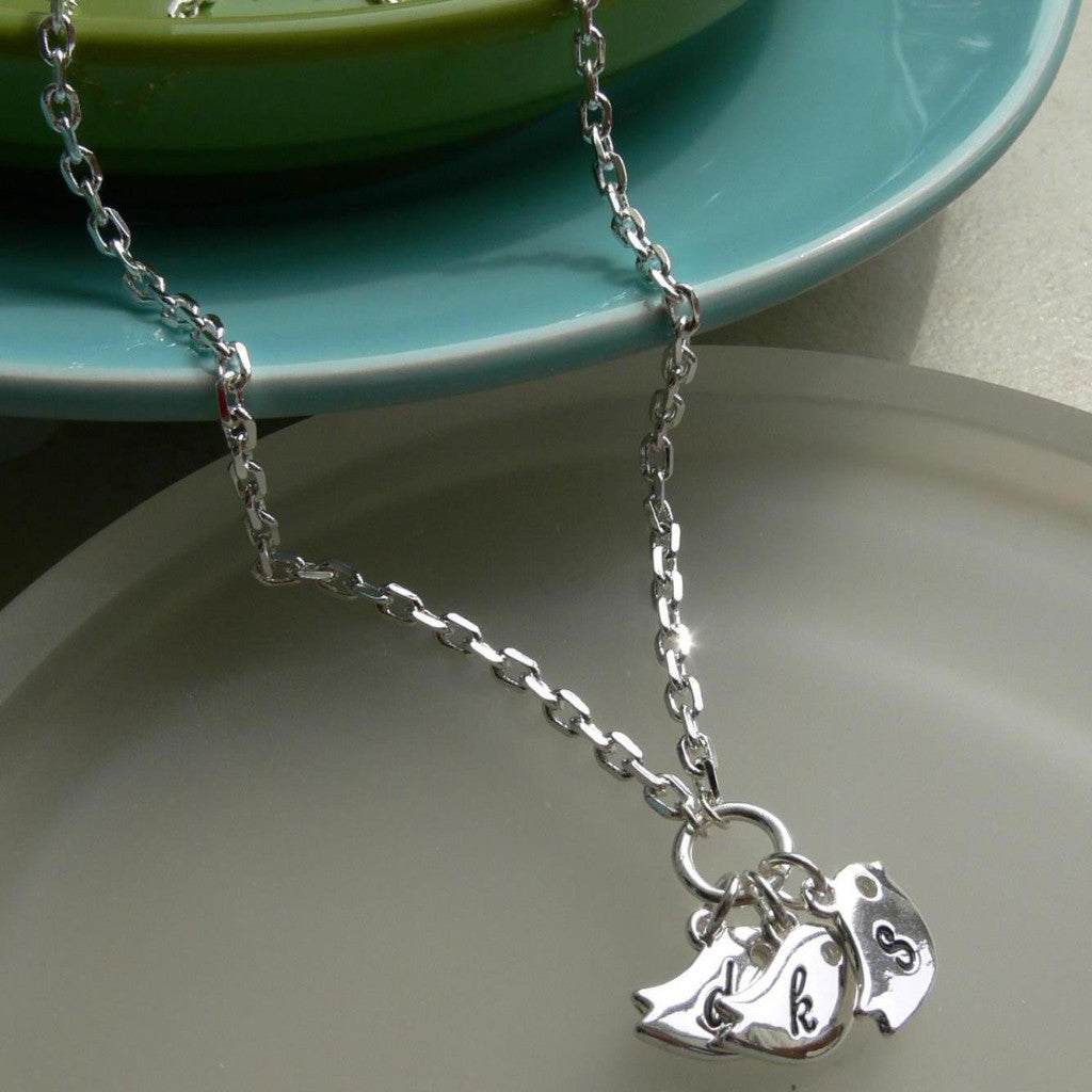Stamped Initial Bird Necklace