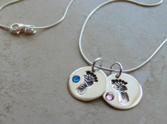 Baby's First Birthstone Footprint Necklace