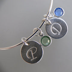 Initial and Birthstone Bangle Bracelet