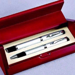 Monogrammed Rosewood Roll Open Pen Set