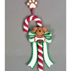Dog Candy Cane Christmas Ornament