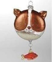 Cat Ornament With Dangle Fish