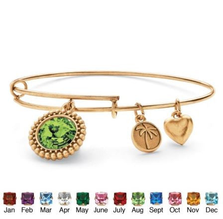 Birthstone Charm Bangle Bracelet