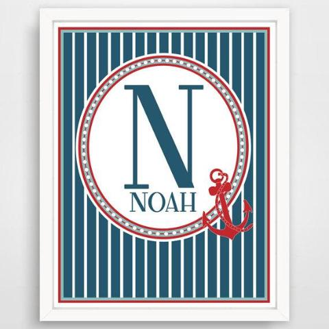 Custom Nautical Monogram Letter Initial and Name print