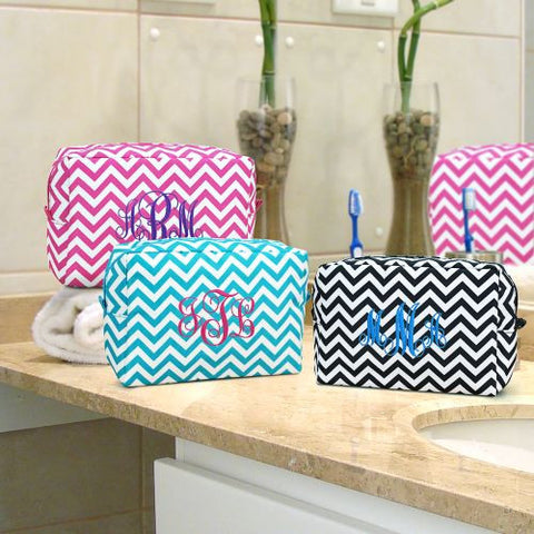 Embroidered Chevron Cosmetic Bag