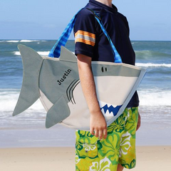 Embroidered Shark Beach Tote with Toys