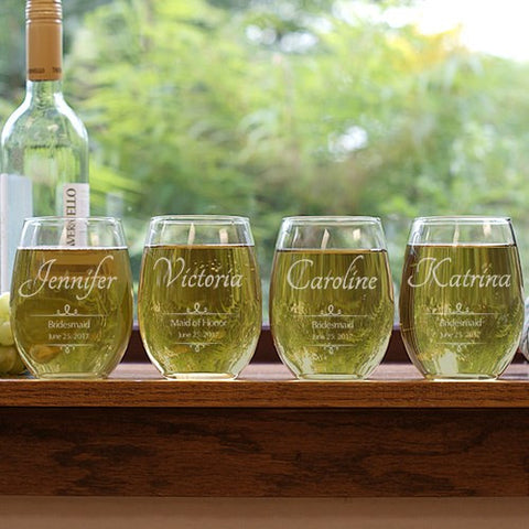 Engraved Bridal Party Stemless Wine Glass