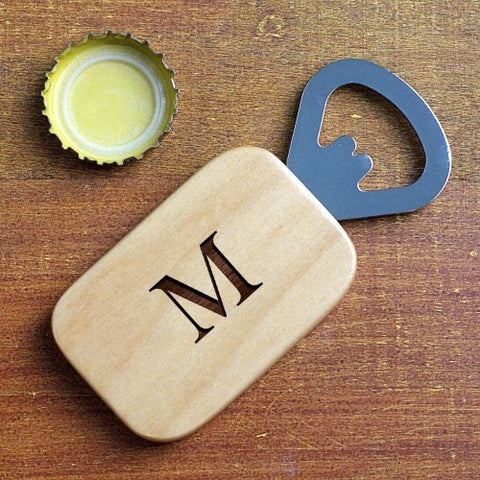 Engraved Initial Wooden Bottle Opener