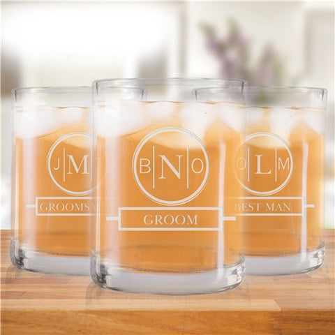 Engraved Monogram Wedding Party Rocks Glass