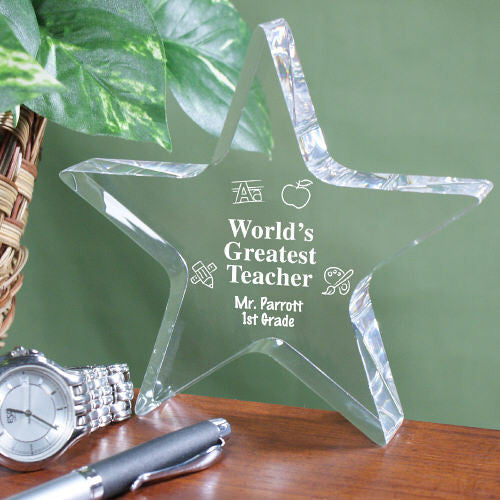 Engraved Teacher Star Keepsake