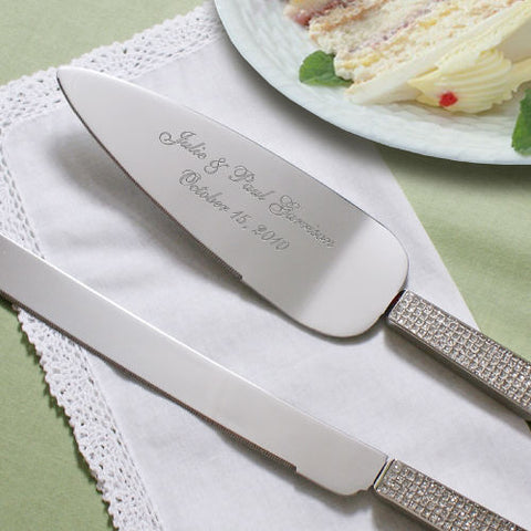 Glitter Galore Personalized Wedding Cake Server and Knife