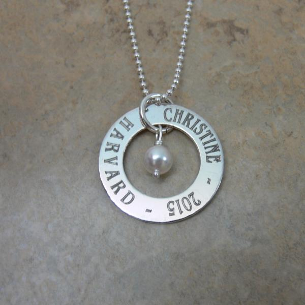 Graduation Memories Engraved Disc Necklace