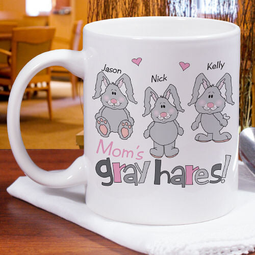 Gray Hares Personalized Ceramic Coffee Mug
