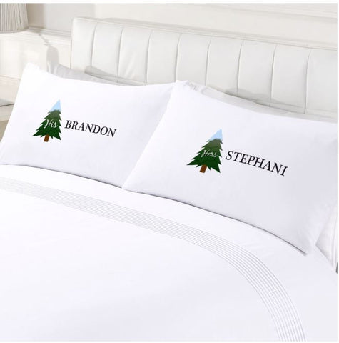 Custom Couples His & Hers Holiday Pillowcases