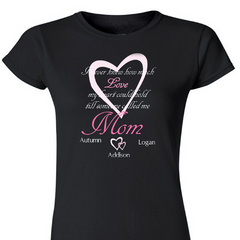 How Much Love Personalized Ladies' Fitted T-Shirt
