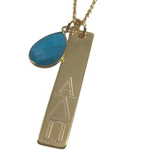 Alpha Delta Pi Engraved Bar Necklace with Turquoise Tear Drop Gemstone
