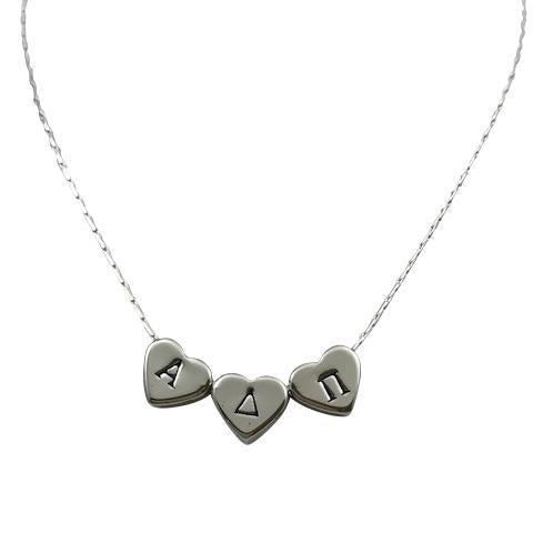Alpha Delta Pi Hand Stamped Heart Slide Necklace