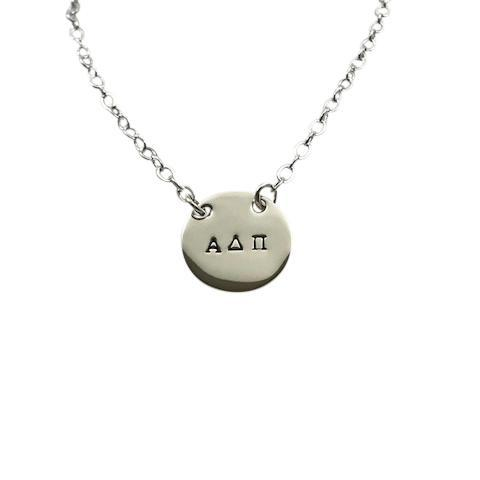 Alpha Delta Pi Hand Stamped Disk Necklace
