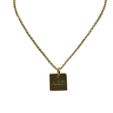 Alpha Delta Pi Hand Stamped Square Charm Necklace