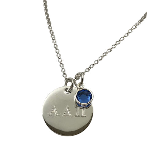 Alpha Delta Pi Necklace With Engraved Disk and Swarovski Crystal