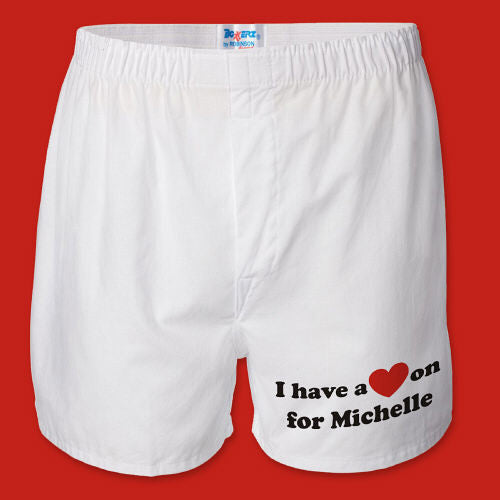 I Have A Heart On Men's White Personalized Boxer Shorts