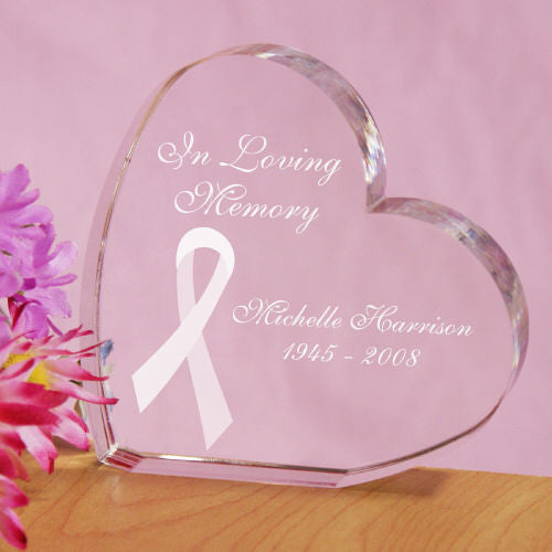 In Loving Memory Personalized Breast Cancer Awareness Heart Keepsake