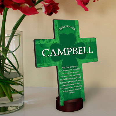 Personalized Irish Blessing Shamrock Cross