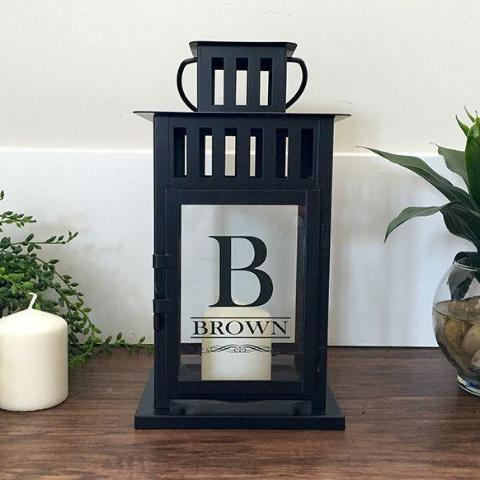 Personalized Lantern with Last Name and Initial