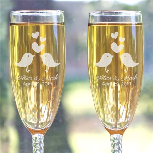Personalized Love Birds Twisted Stem Flutes