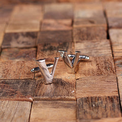 Men's Initial Cuff Link & Money Clip Set with Wood Box