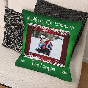 Merry Christmas Personalized Photo Throw Pillow