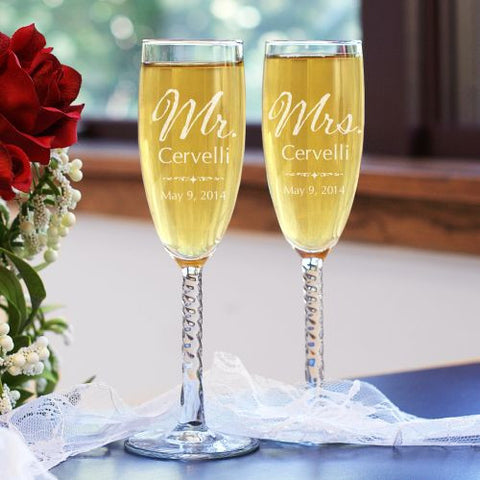 Mr. and Mrs. Personalized Wedding Toasting Flutes