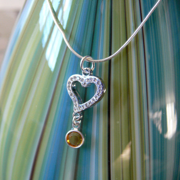 Swarovski Crystal Birthstone Heart Necklace