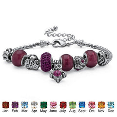 Bali-style Birthstone Crystal and Glass Bead Charm Bracelet