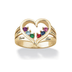 Birthstone Family Heart & Name Ring
