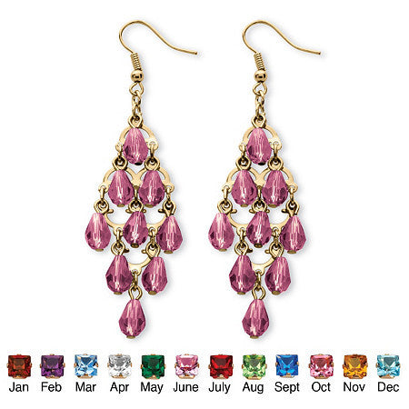 Birthstone Teardrop Chandelier Earrings